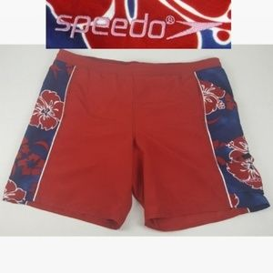 Mens Large Red Speedo Swim Trunks Board Shorts
